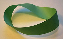 A Möbius strip made with a piece of paper and tape. If an ant were to crawl along the length of this strip, it would return to its starting point having traversed the entire length of the strip (on both sides of the original paper) without ever crossing an edge.
